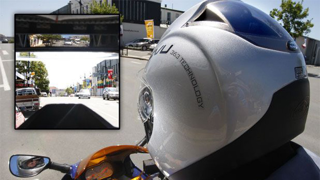 worlds first rearview motorcycle helmet introduced