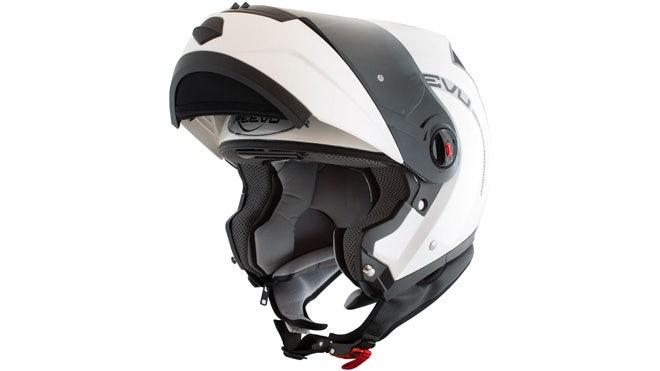 Reevu white flip lid helmet