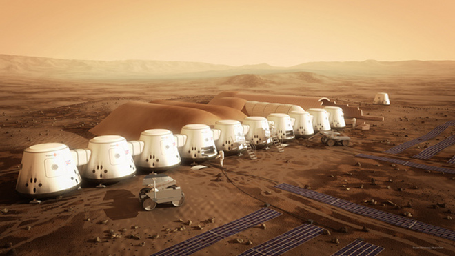 All components of Mars One's settlement are slated to reach their destination by 2021. The hardware includes two living units, two life-support units, a second supply unit and two rovers. (BRYAN VERSTEEG/MARS ONE)