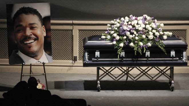 June 20: Rodney King's casket is pictured during his memorial service at the Forest Lawn Hall of Liberty in Los Angeles, California. (Reuters)