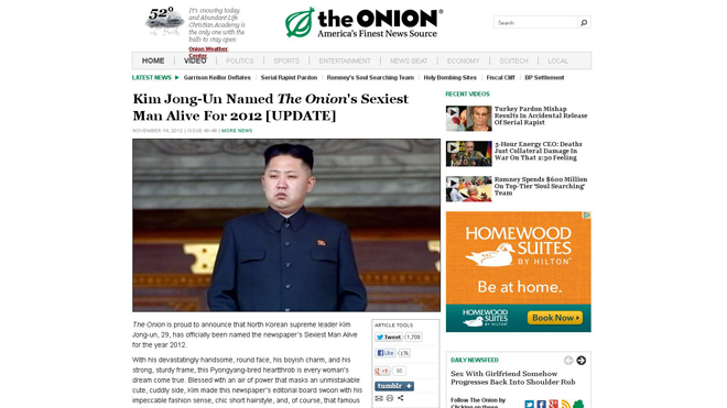 satirical article by the onion America's finest news source a satirical that makes fun of american politics and pop culture.