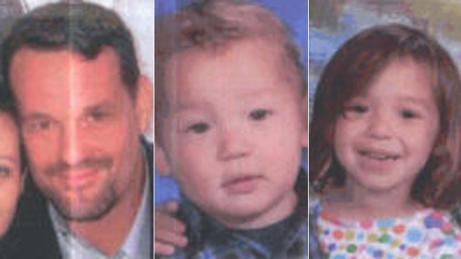 Christopher Maffei, left, allegedly kidnapped his young children Devin Maffei, 2, and Brooklynn Maffei, 3.