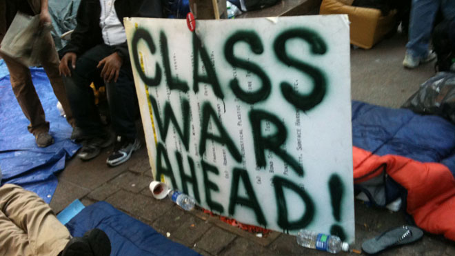 Class War Ahead Sign: Occupy Wall Street Demonstration