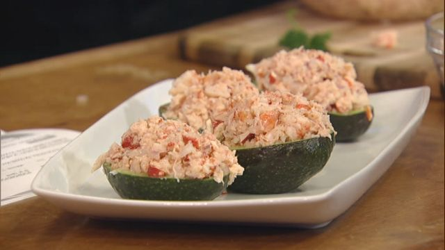 ... avocado stuffed with lobster and shrimp salad served with crispy